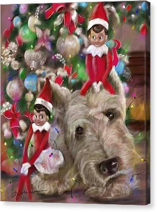 Scottish Dog Canvas Print - Elves From The Shelf by Mary Sparrow