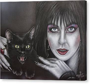 Elvira And Her Cat Canvas Print by Jonathan Anderson