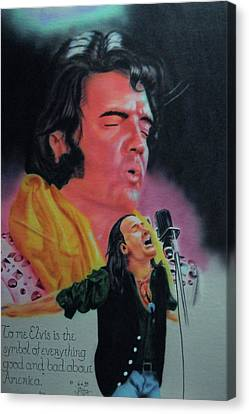Canvas Print featuring the painting Elvis And Jon by Thomas J Herring