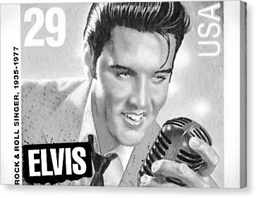 Elvis Commemorative Stamp January 8th 1993 Painted Bw Canvas Print by Rich Franco