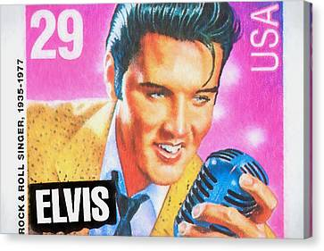 Elvis Commemorative Stamp January 8th 1993 Painted  Canvas Print by Rich Franco