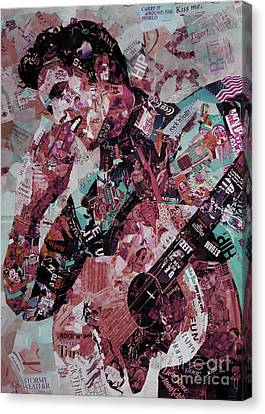 Elvis Presley Collage Art 01 Canvas Print by Gull G