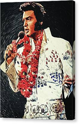 Rhythm And Blues Canvas Print - Elvis Presley by Taylan Apukovska