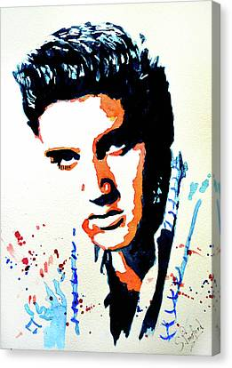 Canvas Print featuring the painting Elvis by Steven Ponsford