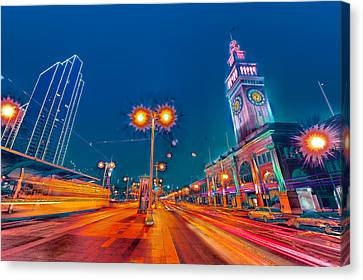 Canvas Print featuring the photograph Embarcadero Lights by Steve Siri