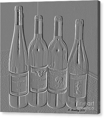 Embossed Wine Bottles Canvas Print by Donna Bentley
