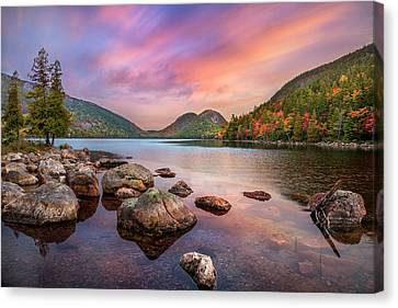 Embrace The Moment - Jordan Pond Sunrise Canvas Print by Thomas Schoeller