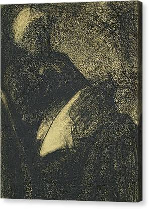 Embroiderer Canvas Print by Georges Pierre Seurat