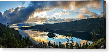 Canvas Print featuring the photograph Emerald Bay Sunrise Rays by Brad Scott