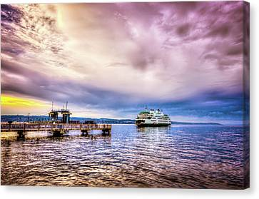 Canvas Print featuring the photograph Emerald City Ferry by Spencer McDonald