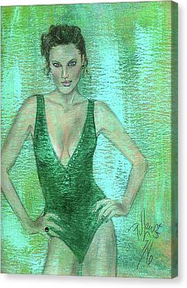 Canvas Print featuring the painting Emerald Greem by P J Lewis