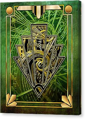 Canvas Print featuring the digital art Emerald Green And Gold by Chuck Staley