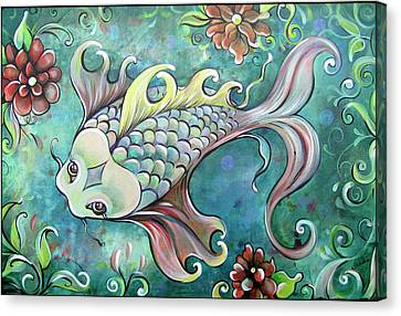 Emerald Koi Canvas Print by Shadia Derbyshire