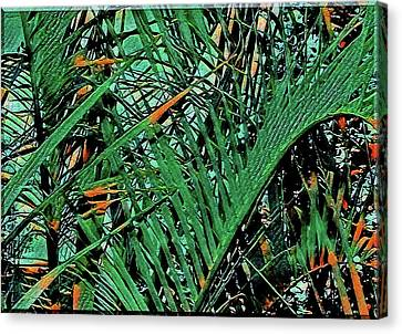 Canvas Print featuring the digital art Emerald Palms by Mindy Newman