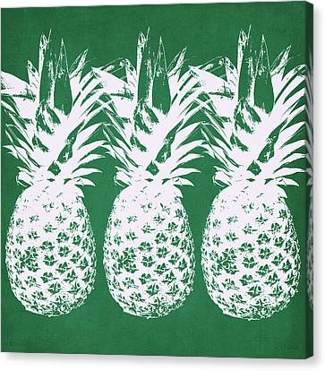 Canvas Print featuring the mixed media Emerald Pineapples- Art By Linda Woods by Linda Woods