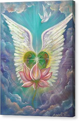 Emerging Love Opening Heart Canvas Print by Sundara Fawn