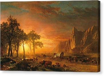 Emigrants Crossing The Plains - 1867 Canvas Print by Albert Bierstadt