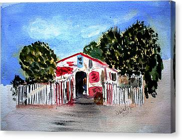 Canvas Print featuring the painting Emiles Road Side Grocer by Donna Walsh