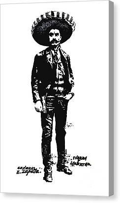 Canvas Print featuring the drawing Emiliano Zapata by Antonio Romero