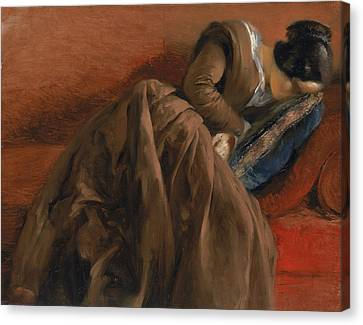 Emilie The Artist's Sister Asleep Canvas Print by Adolph Friedrich Erdmann von Menzel
