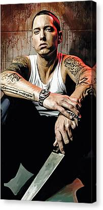 Canvas Print featuring the painting Eminem Artwork 1   by Sheraz A