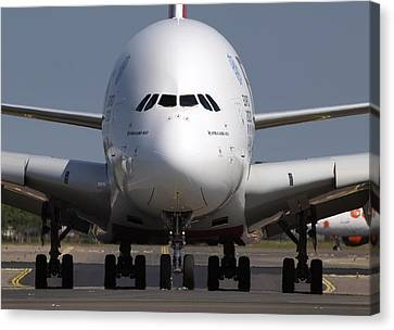 Jet Set Canvas Print - Emirates Airbus A380-800 by Daniel Hagerman