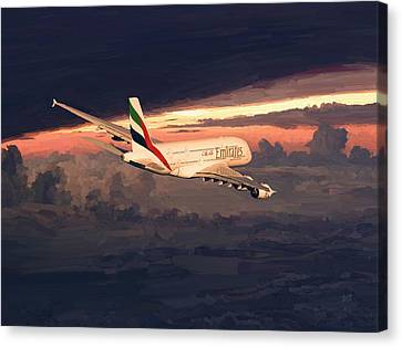 Emirates Airbus A380 Above Dubai Canvas Print