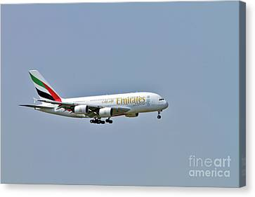 Emirates Airbus A380 Canvas Print by Amos Dor
