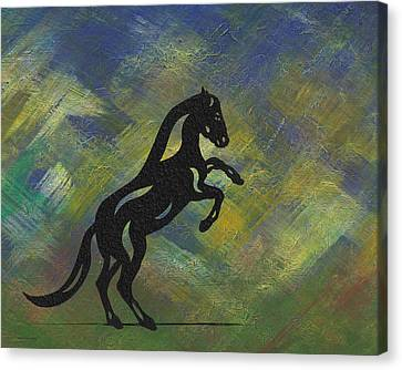 Canvas Print featuring the painting Emma II - Abstract Horse by Manuel Sueess