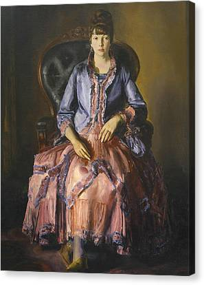 Emma In A Purple Dress Canvas Print by George Bellows