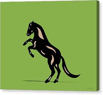 Canvas Print featuring the digital art Emma - Pop Art Horse - Black, Hazelnut, Greenery by Manuel Sueess