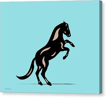 Canvas Print featuring the digital art Emma II - Pop Art Horse - Black, Hazelnut, Island Paradise Blue by Manuel Sueess