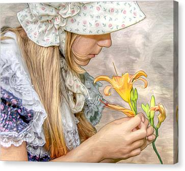 Emma With Flower Portrait Canvas Print by Randy Steele