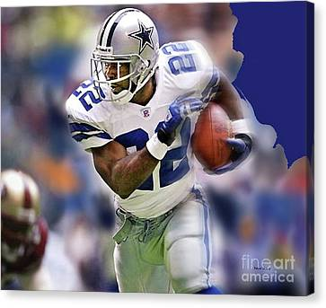 Emmit Smith, Number 22, Running Back, Dallas Cowboys. Canvas Print by Thomas Pollart