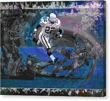 Emmitt Smith Dallas Cowboys Digitally Painted Art Canvas Print by David Haskett