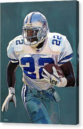 Emmitt Smith - Dallas Cowboys Canvas Print by Michael  Pattison