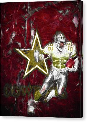 Emmitt Smith Nfl Dallas Cowboys Gold Digital Painting 22 Canvas Print by David Haskett
