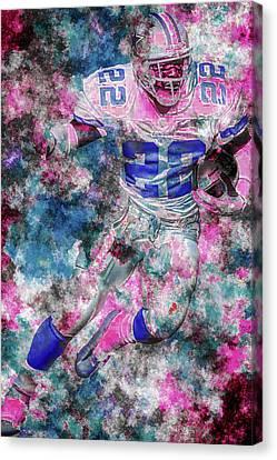 Emmitt Smith Nfl Football Painting Digital  Es22 One Canvas Print by David Haskett