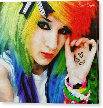 Hairstyle Canvas Print - Emo Rainbow Girl by Leonardo Digenio