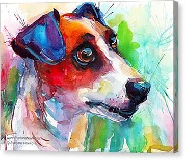 Impressionism Canvas Print - Emotional Jack Russell Terrier by Svetlana Novikova