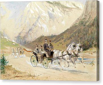 Emperor Franz Joseph I With Crown Prince Rudolf On A Carriage Journey In The Salzkammergut Canvas Print by Heinrich Gottfried Wilda