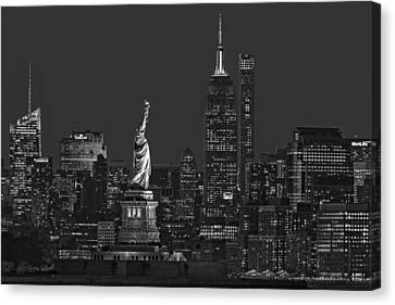 Canvas Print featuring the photograph Empire State And Statue Of Liberty II Bw by Susan Candelario