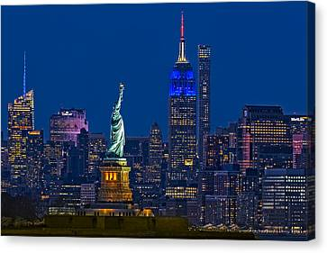 Empire State And Statue Of Liberty II Canvas Print by Susan Candelario