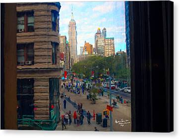 Canvas Print featuring the photograph Empire State Building - Crackled View 2 by Madeline Ellis