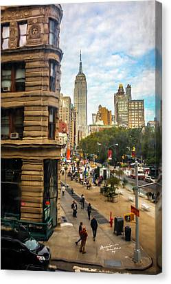 Canvas Print featuring the photograph Empire State Building - Crackled View 3 by Madeline Ellis
