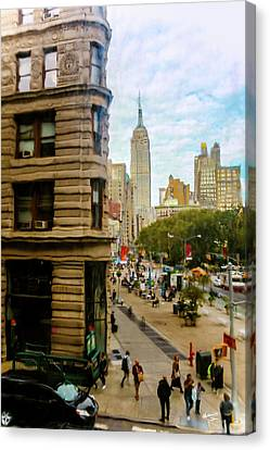 Canvas Print featuring the photograph Empire State Building - Crackled View by Madeline Ellis