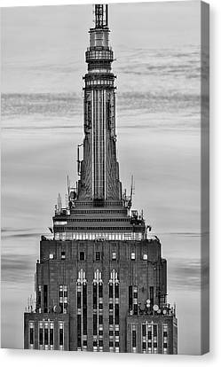 Empire State Building Esb Broadcasting Nyc Bw Canvas Print by Susan Candelario