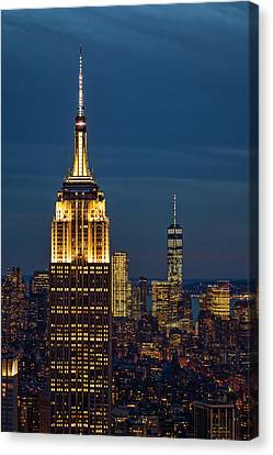 Blue Hour Canvas Print - Empire State Building Esb World Trade Center Wtc Nyc by Susan Candelario