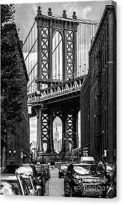 Empire State Building Framed By Manhattan Bridge Canvas Print