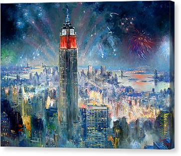 Empire State Building In 4th Of July Canvas Print by Ylli Haruni